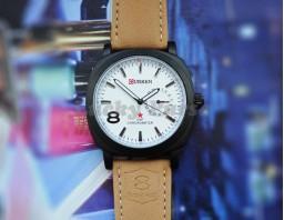 Мужские часы Curren 8139 на кожаном ремешке (белый)