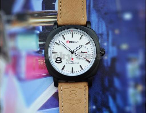 Мужские наручные кварцевые часы Curren 8139 с ремешком из экокожи