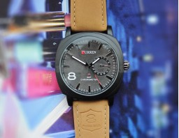 Мужские часы Curren 8139 на кожаном ремешке (коричневый)