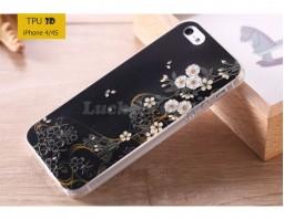 """Чехол-накладка TPU 3D для iPhone 4/4S """"Ночные цветы"""""""
