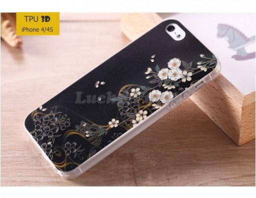 """TPU 3D чехол-накладка для iPhone 4/4S """"Ночные цветы"""""""