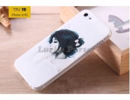 "Чехол-накладка TPU 3D для iPhone 4/4S ""Девушка"""