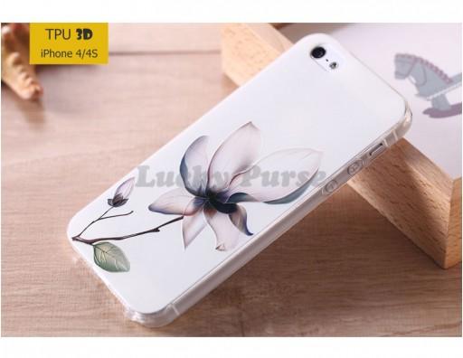 """TPU 3D чехол-накладка для iPhone 4/4S """"Лотос"""""""
