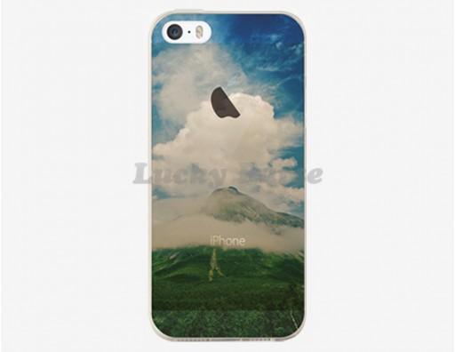 Тонкий чехол из гибкого пластика для iPhone 5S/5 с красивым пейзажем гора в облаках