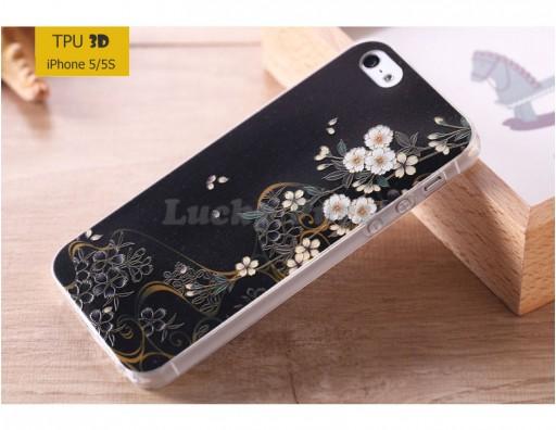 """TPU 3D чехол-накладка для iPhone 5/5S """"Ночные цветы"""""""