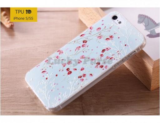 "TPU 3D чехол-накладка для iPhone 5/5S ""Сакура"""