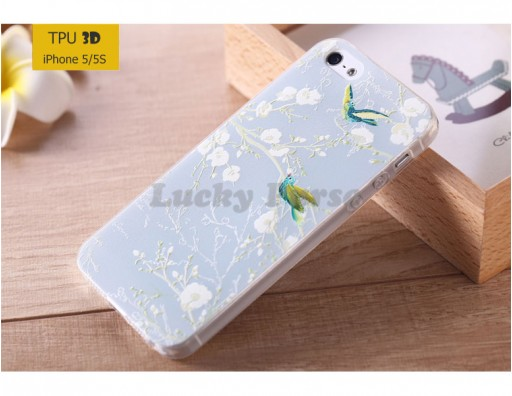 "TPU 3D чехол-накладка для iPhone 5/5S ""Птицы"""