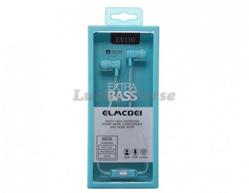 Наушники ELMCOEI EV110 с микрофоном 3.5мм (голубой)