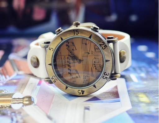 Женские часы WOMAGE A568-1 Ноты (белый)