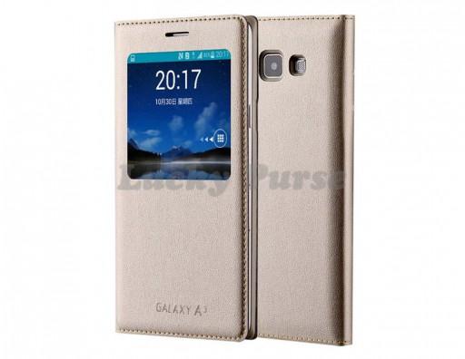 S-View чехол-книжка для Samsung Galaxy A3 (золотой)