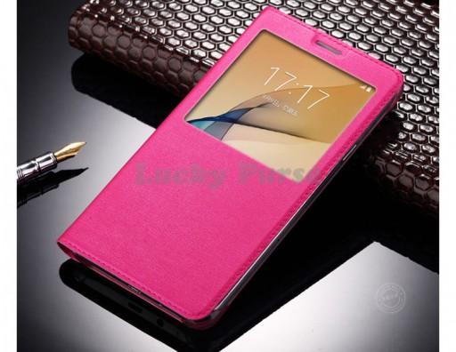 Чехол книжка для Samsung Galaxy A3 2017, S-View (розовый)