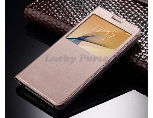 Чехол книжка для Samsung Galaxy A3 2017, S-View (золотой)