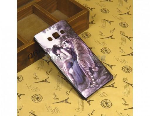 """Бампер для Samsung Galaxy A7 c принтом """"Тигр и девушка"""""""