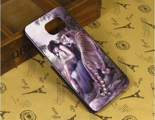 """Бампер для Samsung Galaxy S6 c принтом """"Тигр и девушка"""""""